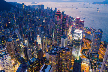 Wall Mural - Hong Kong business district at night