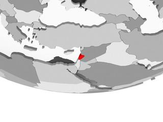 Map of Lebanon on grey political globe