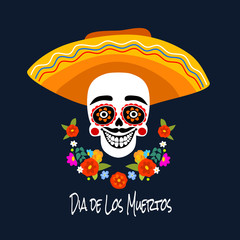 Mexican Dia de los Muertos (Day of the Dead) skeleton head, greeting card, vector illustration.