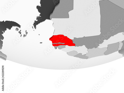 Map of Senegal on grey political globe