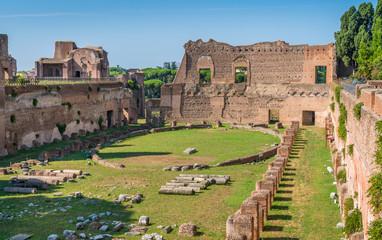 The Palatine Stadium in the Roman Forum. Rome, Italy.