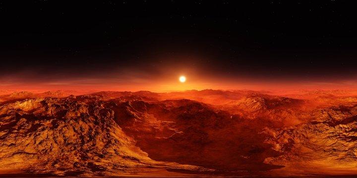 Martian landscape. HDRI . equidistant projection. Spherical panorama. panorama 360. environment map,