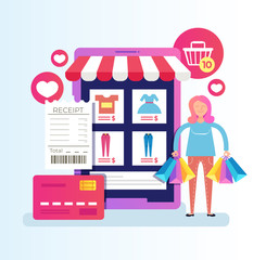 Woman consumer buyer character holding bags purchases gifts packages. Online web page internet shopping e commerce mobile phone app service device. Vector cartoon graphic design isolated illustration