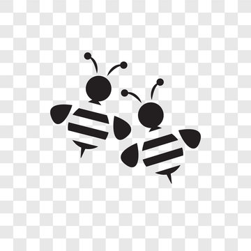 Bees vector icon isolated on transparent background, Bees logo design