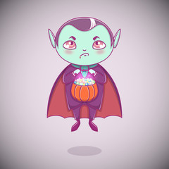 Halloween little vampire Dracula. Boy kid with angry face in halloween costume with pumpkin in his hands.