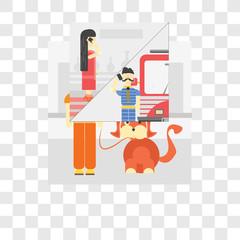 Walking the dog vector icon isolated on transparent background, Walking the dog logo design