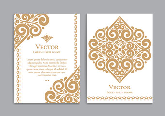 Gold and white vintage greeting card. Luxury vector ornament template. Great for invitation, flyer, menu, brochure, postcard, background, wallpaper, decoration, packaging or any desired idea