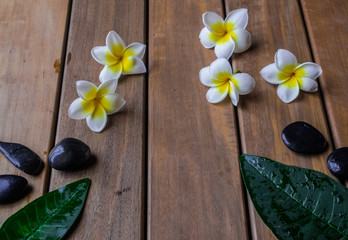 plumeria flowers and black round stones on wooden surface