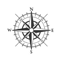 Wind rose vector illustration. Nautical compass icon isolated on white background. Design element for marine theme and heraldry. EPS 10.