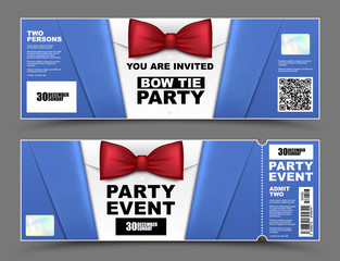 Vector horizontal cocktail party event invitations. Red bow tie official isolated businessmen banners. Elegant party ticket card with blue suit and white shirt.