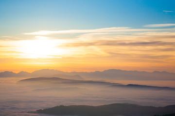 Mountain silhouette at sundown