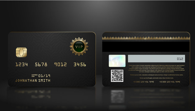 Vector realistic black credit card with abstract geometric background. Golden element credit card dark design template. Bank presentation with hologram, qr-code and magnetic strip.