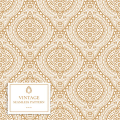 Gold and white ornamental seamless pattern. Vintage vector, paisley elements. Ornament. Traditional, Turkish, Indian motifs. Great for fabric and textile, wallpaper, packaging or any desired idea.