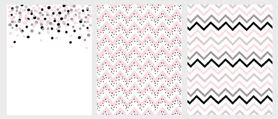 Set of 3 Bright Hand Drawn Chevron and Dots Vector Layouts. Irregular Tiny Dot Shape Confetti Design.. Grey, Black and Pink Chevron Pattern. Pink Chevron with Black Dots Pattern.
