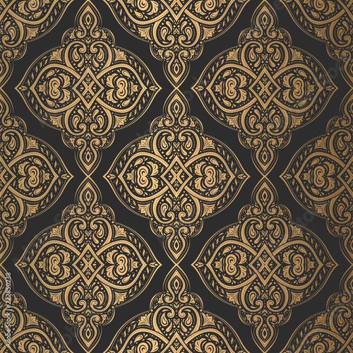 Gold And Black Vintage Vector Seamless Pattern Wallpaper Elegant