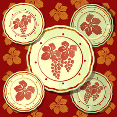 Poster on theme of golden autumn and thanksgiving day. Set of wall plates depicting bunches of grapes on a background of red and brown texture of grape leaves. Vector cartoon close-up illustration.