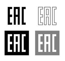 EAC EurAsian Conformity mark Vector isolated mark symbol on black background set