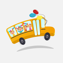 School bus with kids.