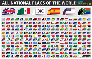 All official national flags of the world . Sticky note design . Vector