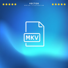 Premium Symbol of Mkv Related Vector Line Icon Isolated on Gradient Background. Modern simple flat symbol for web site design, logo, app, UI. Editable Stroke. Pixel Perfect.