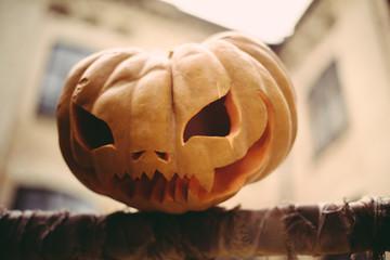 Halloween symbol pumpkin smiling jack-o-lantern
