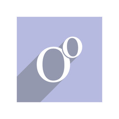 Flat icon with lowercase and uppercase O for websites and apps, long shadow