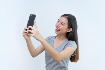 Asian woman taking photo, Mobile phone, Beautiful young woman
