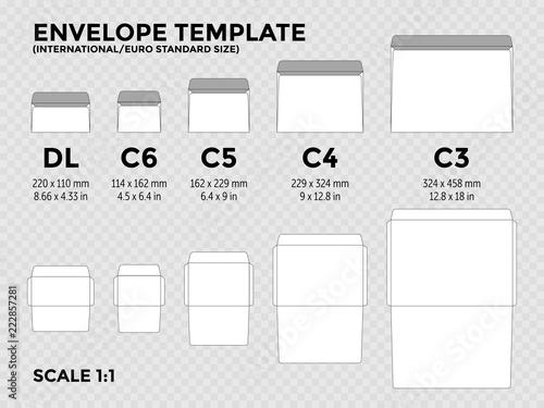 envelope template with international euro standard sizes c6 c5 c4