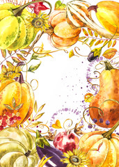 Autumn leaves and pumpkins border frame with space text on white background. Seasonal floral maple oak tree orange leaves with gourds for thanksgiving holiday, harvest decoration watercolor design.
