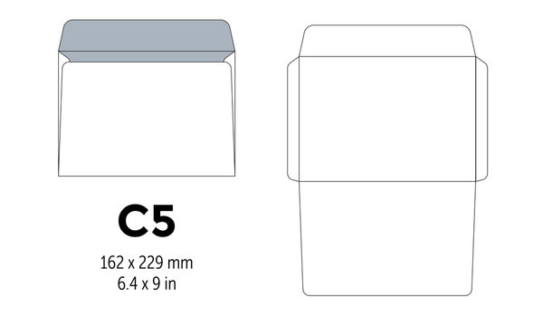 Envelope c5 template for a4, a5 paper with cut lines