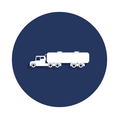 Gasoline tanker icon in badge style. One of cars collection icon can be used for UI, UX