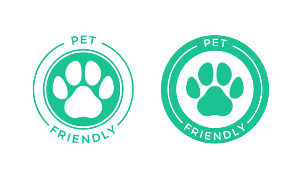 Pet friendly logo icon for Pets allowed hotel sign.