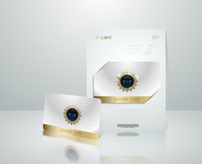 Vector white vip card presentation with golden frame. VIP membership or discount card. Luxury club ticket. Elite silver coupon. Vip card with jewel element on light background.