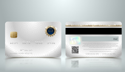 Vector realistic silver credit card with abstract geometric background. Golden element credit card metallic design template. Bank presentation with hologram, qr-code and magnetic strip.