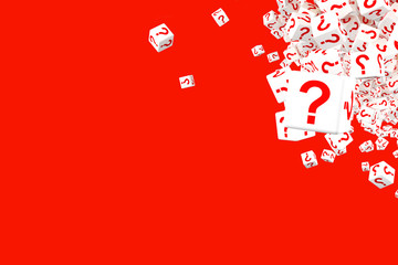 A set of falling cubes with the image of a question mark on the faces. 3d illustration