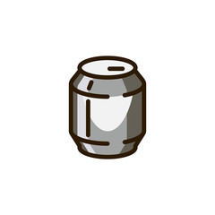 Beverage tin can icon. Metal packing of beer, lemonade, soda, carbonated drink. Alcoholic and nonalcoholic liquid. Label for supermarkets, markets, stores. Pictograph on drink theme. Vector isolated