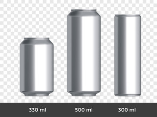 3D can mockup. Vector aluminium beer or soda can blank template