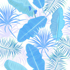 Seamless pattern of blue leaves banana. Tropical leaves of palm tree.