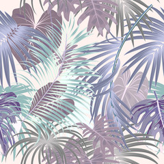 Seamless pattern of leaves monstera. Tropical leaves of palm tree.