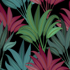 Seamless pattern of exotic jungle plant tropical palm leaves, floral vector on the black background.