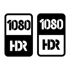1080 HDR format black and cut icon. Pure flat vector illustration on white background