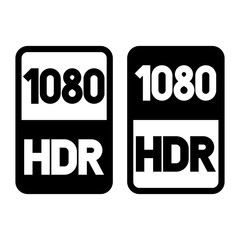 1080 HDR format black icon. Pure flat vector illustration on white background