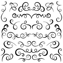 Vintage decorative curls and swirls set. Hand drawn vector illustration design elements.