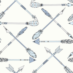 Tribal Indian seamless set of arrows. Ethnic hand drawn vector illustration.