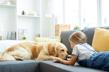 Little girl lying on sofa in front of her pet and trying to play with the dog