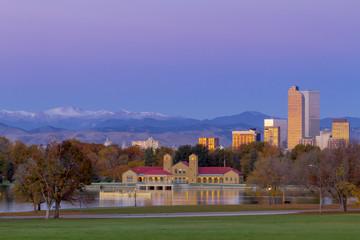 Denver CO Skyline in Fall from City Park