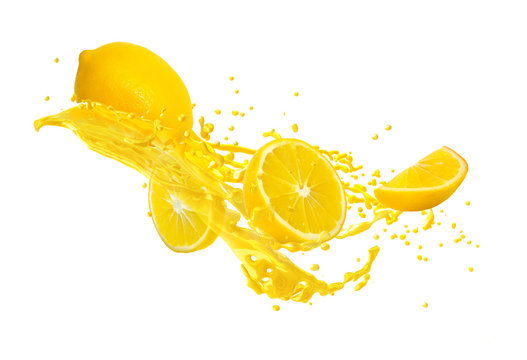 Juice or liquid splashing with yellow lemon isolated on white background. Creative minimalistic food concept for design package, advertising, ads, branding.