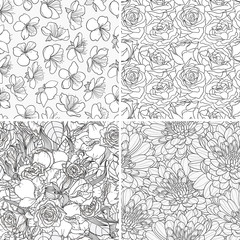 Vector set of decorative hand-drawn seamless floral background with flowers.