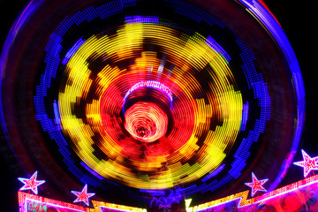 Colorful spinning wheel at theme park