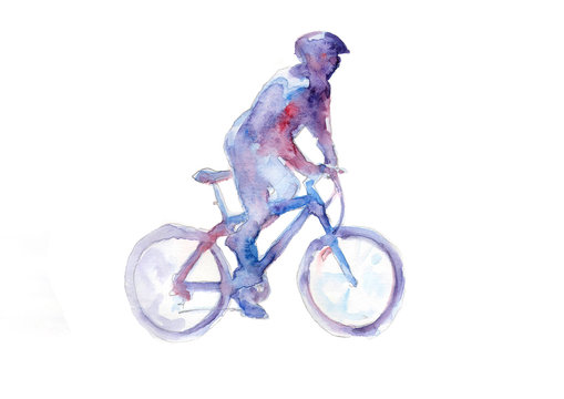 Cyclist in watercolor technique. Paint and speed.